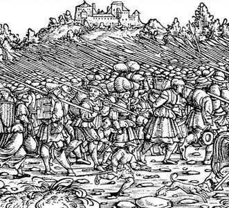 Bewaffnete Bauernarmee, Holzschnitt von Froschauer, um 1525