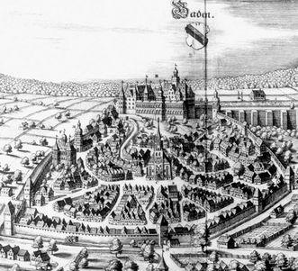 Neues Schloss Baden-Baden, hier fand die letzte Trauung Eduard Fortunats statt